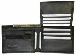 Men's Bifold Leather Black Fixed ID Card Flap Up With Zipper