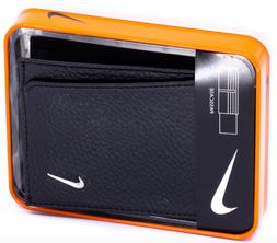 NIKE Men's Bifold Passcase Pebbled Leather Wallet Black Bill