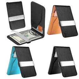 Men's Black Genuine Leather Wallet Money Clip Slim Wallets I