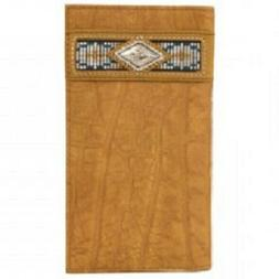 Ariat Men's Brown Rodeo Leather Slim Fit Wallet Checkbook Co