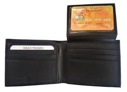 Men's Genuine Leather Bifold Wallet Black Passcase With Insi