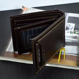Men's Genuine Leather Credit Card Holder Wallet Bifold ID Ca