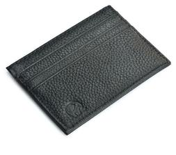 Men's Genuine Leather Front Pocket Slim Thin ID Credit Card