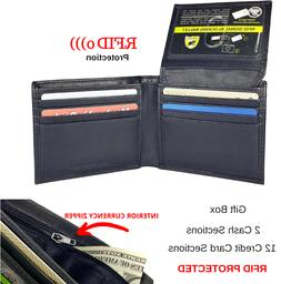 Men's Genuine Leather RFID Security Black Bifold Wallet With