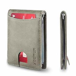 Men's Gray Front Pocket Slim Bifold Leather RFID Blocking wi