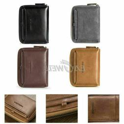 men s leather business wallet with coins