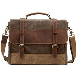 Kattee Men's Leather Canvas Messenger Bag Briefcase Retro Sa