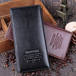 Men's Leather Long Wallet Bifold ID Card Holder Checkbook Cl