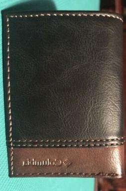 Columbia Men's Leather RFID Blocking Black/Brown Trifold Wal