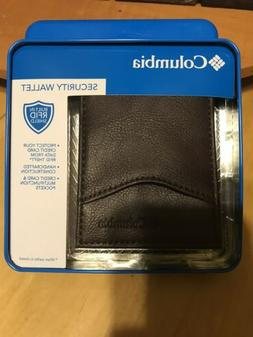 Columbia Men's Leather  Security RFID Blocking Brown Trifold