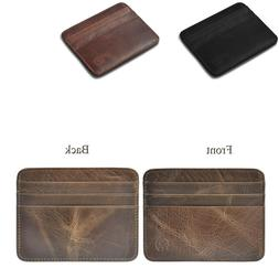 Men's Leather Slim Money Clip Front Pocket Wallet Thin Credi