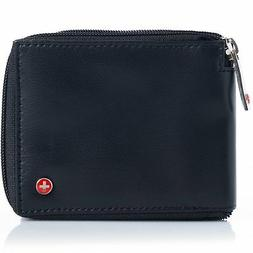 Alpine Swiss Mens Leather Zip Around Wallet ID Card Window S