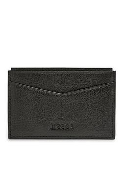 FOSSIL MEN'S OMEGA LEATHER CARD CASE WALLET NEW WITH TIN BLA