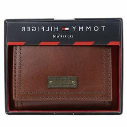 Tommy Hilfiger Men's Premium Leather Trifold Zipper Coin ID