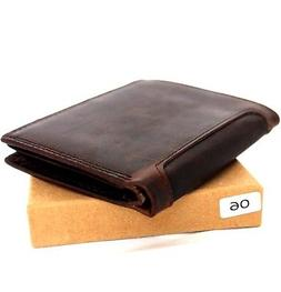 Men's real Leather wallet 6 credit card slots 3 id window Tr