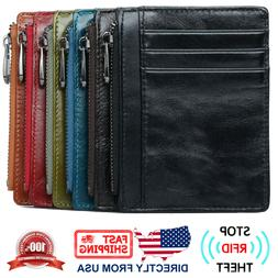 Men's RFID Blocking Full Grain Leather Zipper Pocket Slim Mi