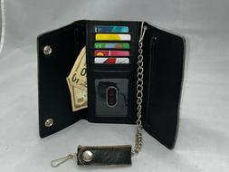 Men's Tri-fold Black Leather Chain Wallet Motorcycle Rider T