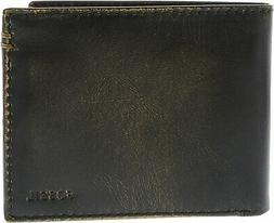 Fossil Men/'s Watts Leather Trifold Wallet Black New In Box