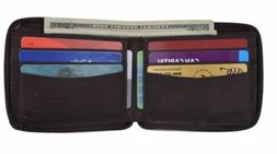 Men's Zipper Slim Brown Leather Wallet Money ID Credit Card