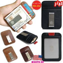 Men Slim Front Pocket Wallet With Money Clip RFID Blocking R