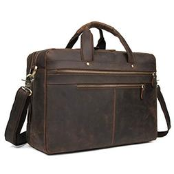 Texbo Men's Large 17 Inch Solid Leather Laptop Briefcase Sho