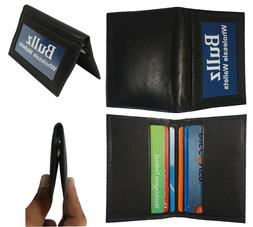 Men's New Thin Black Bifold Genuine Leather Wallet ID Credit