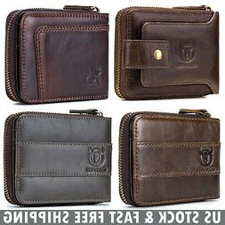 Men Wallets Genuine Leather Zip Around RFID Zipper Bifold wi