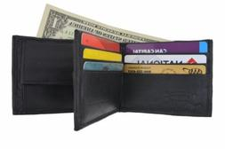 Mens Bifold Leather Front/Back 2 Outside ID Windows W/ Coin