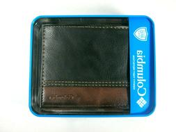 Columbia Mens Bifold Leather RFID Security Wallet Black Brow