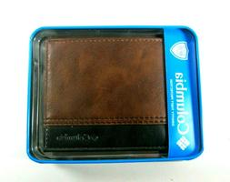 Columbia Mens Bifold Leather RFID Security Wallet Brown/Blac