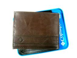 Columbia Mens Bifold Leather Wallet Brown 31CP220012 RFID Se