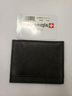 Alpine Swiss Mens Bifold Money Clip Spring Loaded Leather ID