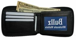 New Mens Bifold Zipper Around Leather Wallet Black Billfold