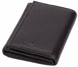 New Nike Golf Mens Black Genuine Leather Trifold Wallet Tri-