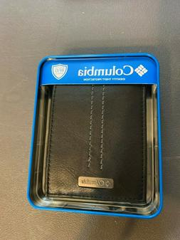 Mens Black Leather Columbia  Bifold Wallet NWT