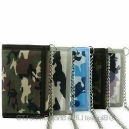 Mens Boys CAMOUFLAGE Canvas Tri-Fold Wallet with Chain & Cli