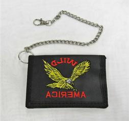 Mens Boys Trifold Black Wallet With Chain Eagle Wild America