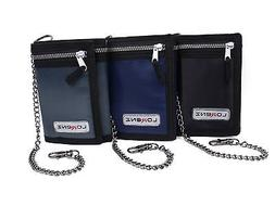MENS BOYS TRIFOLD SPORTS WALLET WITH CHAIN CREDIT CARD HOLDE