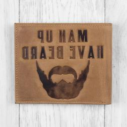 Mens Brown Leather Wallet with Beard Design By Mustard - CLE