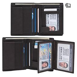 Mens Genuine Leather Bifold Wallet,RFID Blocking Slim Wall