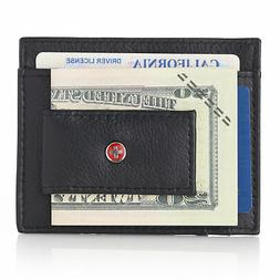 Alpine Swiss Mens Leather Magnet Money Clip Front Pocket Wal