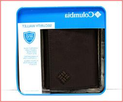 Columbia Mens LEATHER TRIFOLD Wallet - Photo ID 6 Slots - RF