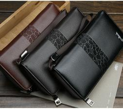Mens Leather Wallet Long Large Capacity Zip Clutch Phone Hol