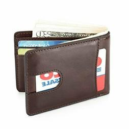 Mens Leather Wallet Slim Front Pocket Wallet Billfold ID Win