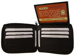 AG Wallets Mens Black Leather Zip Around Wallet With Flip Up