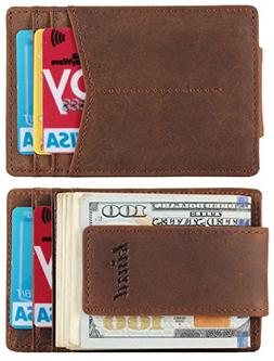 Mens Money Clip, Crazy Horse Slim Wallet with RFID Blocking