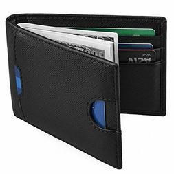 Mens Money Clip Wallet RFID Blocking Slim Wallets Leather Fr