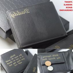 mens personalised engraved quality soft black leather
