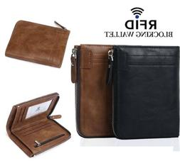 Mens RFID Blocking Bifold Leather Wallet ID Credit Card Hold