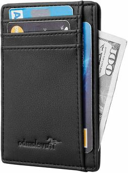 Mens RFID Blocking black Leather Wallet Money Clip Credit Ca